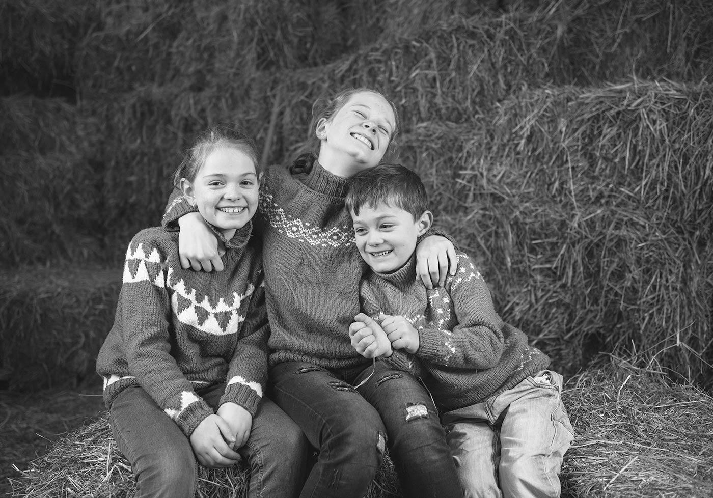 Portrætfotografering af Clara, Johanne og Alfred